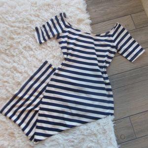 Bebe Striped Dress Off the Shoulder Blue White